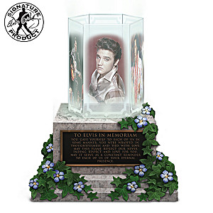 Illuminated Elvis Presley Glass-Panel Memorial Sculpture