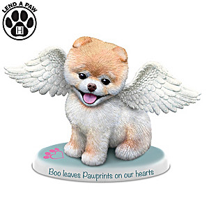"""Boo Leaves Paw Prints On Our Hearts"" Pomeranian Figurine"