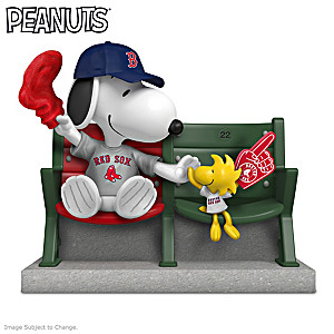 Snoopy And Woodstock Boston Red Sox Fan Figurine