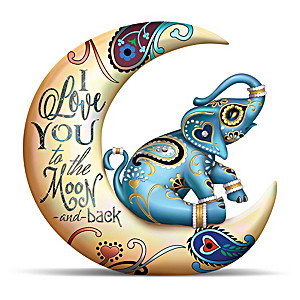 Elephant And Crescent Moon Figurine By Blake Jensen