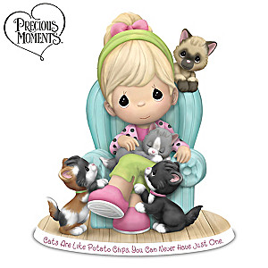 "Precious Moments ""Cats Are Like Potato Chips"" Figurine"