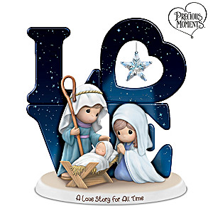Precious Moments Nativity Figurine With Glass Star