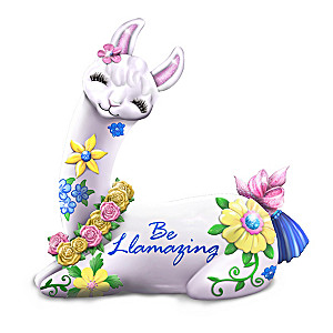 """Be Llamazing"" Figurine With Glitter And Fabric Lashes"