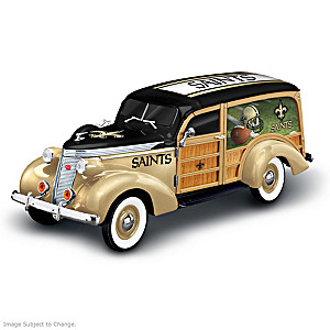 New Orleans Saints 1937 Woody Wagon Sculpture