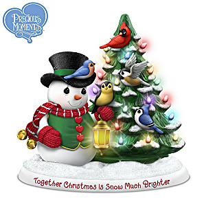 Illuminated Precious Moments Snowman And Songbird Figurine