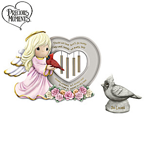 Precious Moments Remembrance Wind Chime And Figurine Set