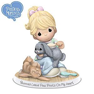 Bunnies Leave Paw Prints On My Heart Figurine