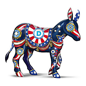 """True Blue Patriot"" Donkey Figurine With Swarovski Crystals"