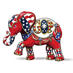"""Patriotic Pride"" Elephant Figurine With Swarovski Crystals"