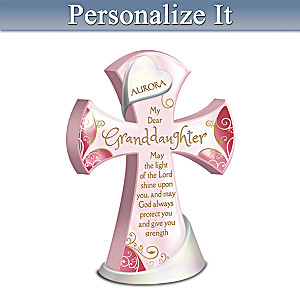 Protect & Strengthen My Granddaughter Personalized Cross
