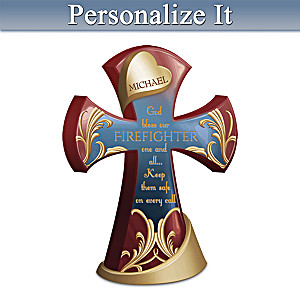 Bless & Protect My Firefighter Personalized Cross