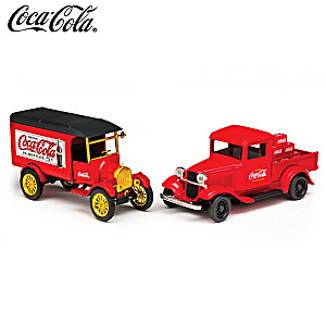 COCA-COLA Ford Model TT & Model A Pickup Diecast Truck Set