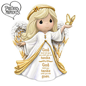 """Precious Moments """"God's Help"""" Angel Figurine With Sentiment"""