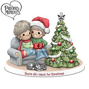 Precious Moments Holiday Couple Porcelain Figurine Lights Up