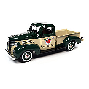 1:24-Scale Plymouth Diecast Truck And Vintage Texaco Ad Sign