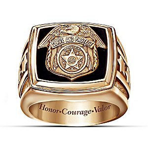 The Police Officer Engraved Black Onyx Ring