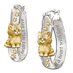 Sterling Silver 24K Gold-Plated Kitten Earrings