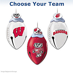 """Choose Your Team"" Football-Shaped Jingle Bell Ornaments"