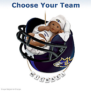 NFL Personalized African-American Baby Christmas Ornament
