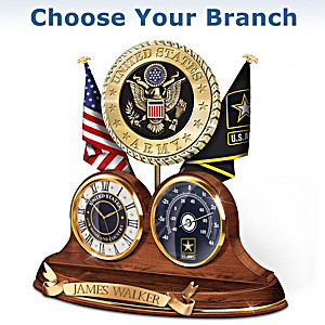 Custom Engraved Military Thermometer Clock : Choose A Branch