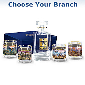 U.S. Military 5-Piece Decanter Set: Choose Your Branch
