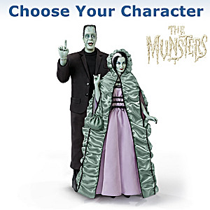 Herman And Lily Munster Poseable Portrait Figures With Sound