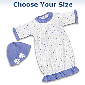 Baby Doll Nightgown And Cap Set: Choose Your Size