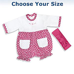 Raspberry Romper Baby Doll Outfit Set: Choose Your Size