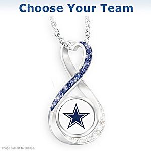 NFL Swarovski Crystal Pendant Necklace: Choose Your Team