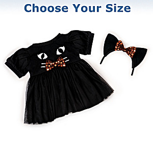 """Little Black Kitty"" Baby Doll Outfit Set: Choose Your Size"