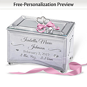 """Bundle Of Joy"" Personalized Mirrored Glass Music Box"