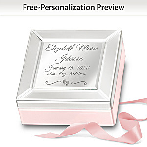 """Baby Blessings"" Personalized Mirrored Glass Music Box"