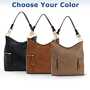 """Rochelle"" Designer-Style Faux Leather Handbag In 4 Colors"