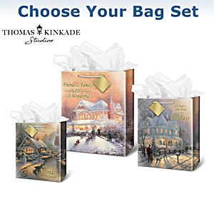 Thomas Kinkade Christmas Art Gift Bags: Choose Your Set