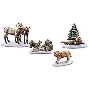 """Calm Outdoors"" Village Accessories Set Of Woodland Animals"