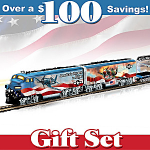 HO-Scale Train Set With WWII Fighter Plane Art