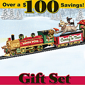 Santa Pups Bobblehead Dogs Illuminated Express Train Set