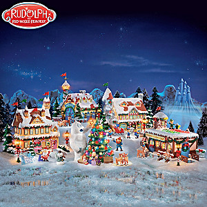 rudolph the red nosed reindeer illuminated village set