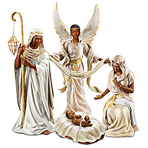 """""""King Of Peace"""" African-American Nativity Figurine Set"""