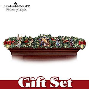 "Thomas Kinkade Illuminated ""Nativity Story"" Garland Set"