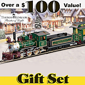 """Thomas Kinkade """"Christmas Express"""" Train Set"""