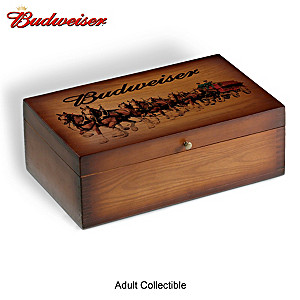 Budweiser Solid Wood Case Stores Train Cars