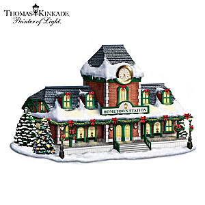Thomas Kinkade Illuminated Train Station Sculpture