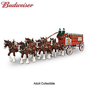 Budweiser Clydesdales Vintage Masterpiece Wagon Sculpture