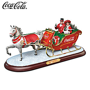 """COCA-COLA """"Refreshing All The Way"""" Holiday Sleigh Sculpture"""