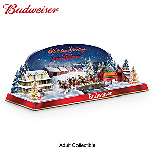 Holiday Budweiser Clydesdales Illuminated Musical Sculpture