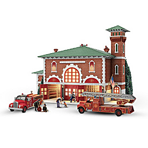 Hometown Heroes Illuminated Firehouse Sculpture With Figures
