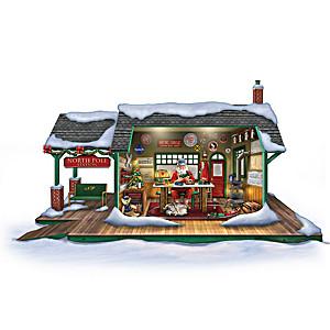 Illuminated Santa's Train Workshop Christmas Sculpture