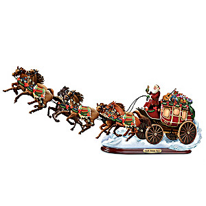 """""""Dash Away ALL!"""" Santa and Christmas Stagecoach Sculpture"""