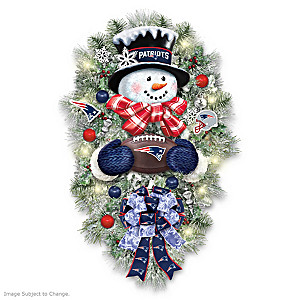 New England Patriots Lighted Snowman Wreath With Ornaments